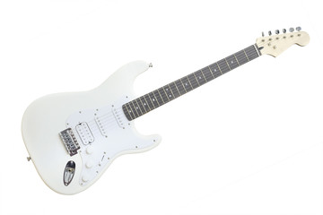 The image of white electric guitar under the white background