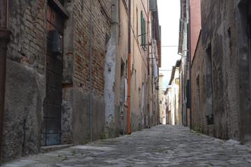 Urbania, Italy - August, 1, 2016: street in an ancient part of Urbania, Italy
