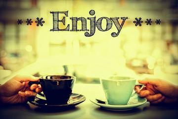 Composite image of enjoy life more