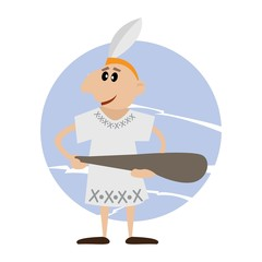 American Indian holds in his hand a stick. vector illustration of cartoon.