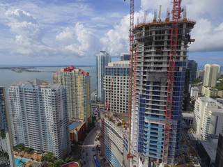 Skyscraper under construction Brickell Miami Downtown