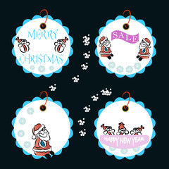 Set of New Year and Christmas labels. Santa Claus and snowman painted by hand.