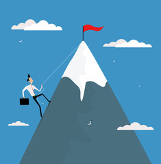 Cartoon businessman climbing mountain with flag on the top