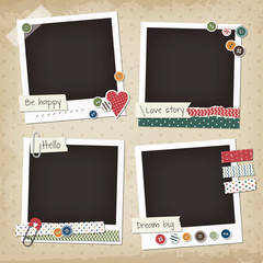 Scrapbook vintage set of photo frames with buttons, stickers, washi tapes. Retro scrapbook design elements.