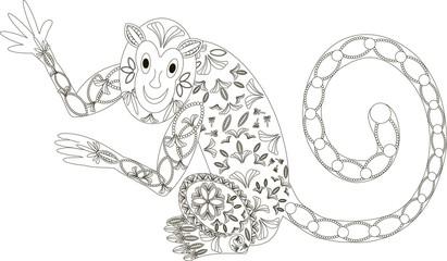 Zentangle stylized monkey black and white hand drawn vector illustration
