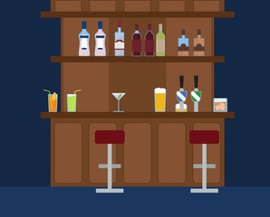 Party Bar with lots of different alcohol drinks vector background