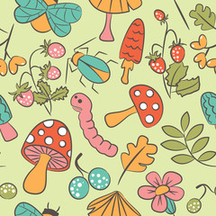 Mushrooms and insects pattern