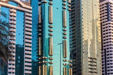 DUBAI, UAE - NOVEMBER 9, 2013: Modern buildings, UAE. Dubai was the fastest developing city in the world between 2002 and 2008.