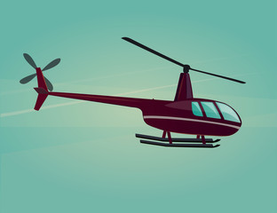 Vector icon of flying helicopter