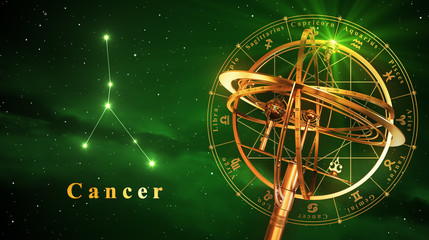 Armillary Sphere And Constellation Cancer Over Green Background