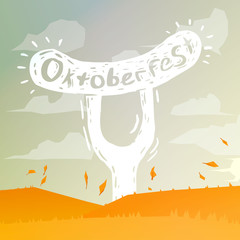 Vector oktoberfest Illustration. Oktoberfest handdrawn art. Beer festival