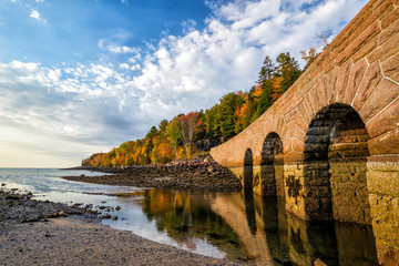 Beautiful fall colors of Acadia National Park in Maine Wall mural