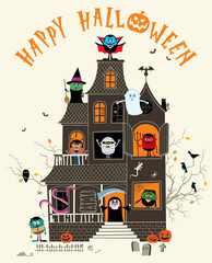 Haunted House / Halloween illustration with spooky haunted house full of monsters.