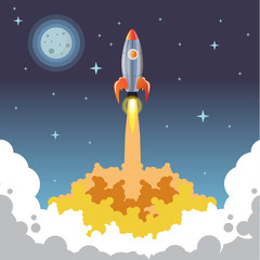Rocket vector night start up business. Space rocket launch noon. The rocket takes off. Rocket vector. A rocket engine works. The power and strength of rockets. moon