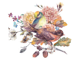 Vintage watercolor pair of birds with autumn bouquet