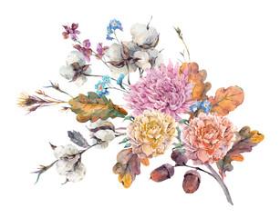 Vintage watercolor autumn floral bouquet