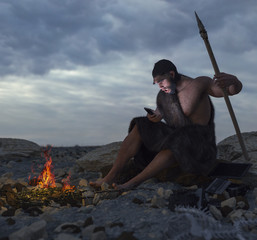primitive man siting on the stone with smartphone concept illustration