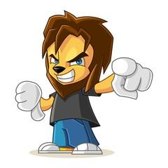 Rapper Lion Mascot Cartoon Vector Illustration Angry