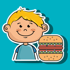 boy burger fast food vector illustration graphic