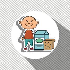 boy milk bread food vector illustration graphic