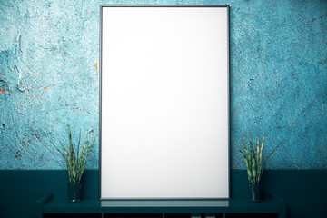 Large frame on blue wall