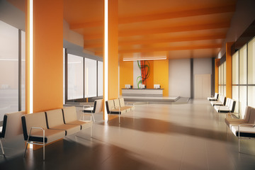Orange office waiting area