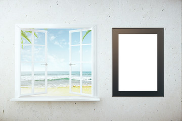 Beach view and picture frame