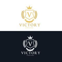 Victory logo set, hotel logo, fashion brand logo, royal logo, vip logo design.