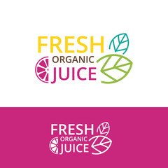 hand drawn banner juice and organic food