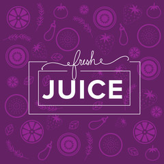 hand drawn banner juice and organic food