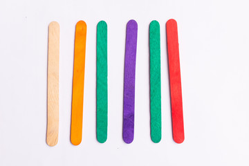 colorful of Ice cream sticks on white background