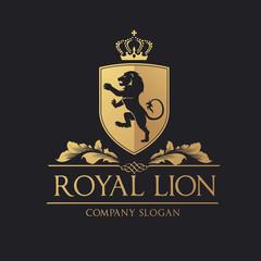 Royal Lion logo. lion logo. hotel logo. vector logo template.