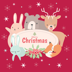 Merry Christmas greeting card set  and happy Holliday card template with cute animal theme.