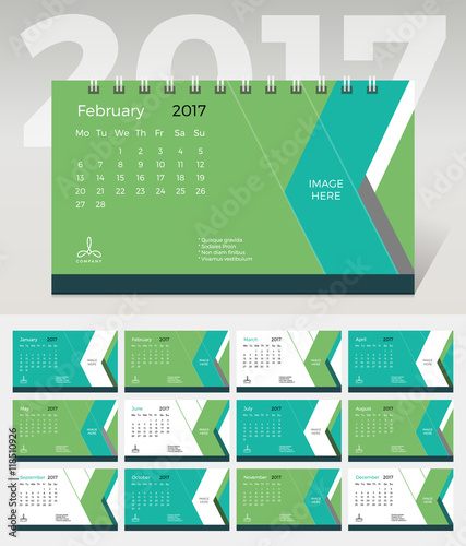 Calendar 2017 Vector Template Green Abstract Desk Monthly Calendar