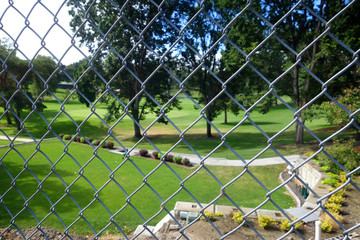 Chan Link fence with golf course in background