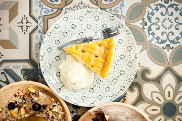 Selective focus Coconut pie with coconut cream and meringue