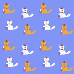 Childish seamless pattern with cats. Cute kitten - fisherman. Vector illustration.