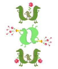 "Cute crocodiles formed word 'Wow"". Vector illustration."