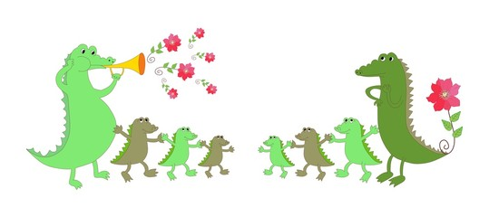 Cute crocodile family - mother, father and six kids. Childish vector illustration.
