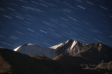 Star trails over Mount atPangong lake, Ladakh, India.