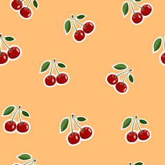 Pattern of red small cherry stickers same sizes with leaves on orange background
