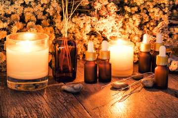 Organic aromatherapy essential oils with dry flowers