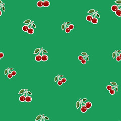Keuken foto achterwand Lieveheersbeestjes Pattern of red small cherry stickers different sizes with leaves on green background