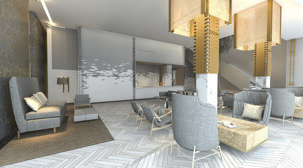 3d rendering beautiful and luxury hotel lobby with nice furniture
