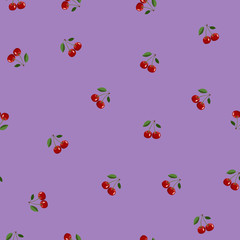 Pattern of red small cherry same sizes with leaves on purple background