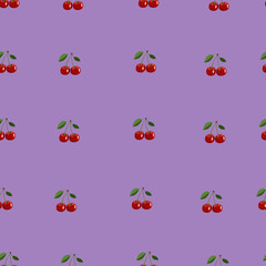 Pattern of small red cherry with leaves on purple background