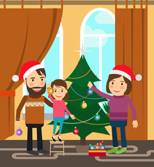 Family celebrates winter holidays with Christmas tree. Vector illustration