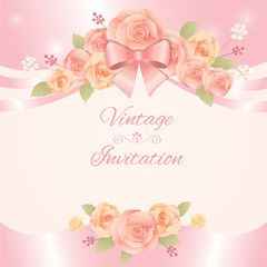 Vector for vintage flowers invitation card.Roses and ribbon  decoration for template.
