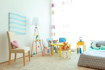 Children room interior with stylish furniture