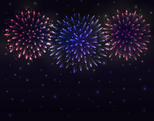 VECTOR eps 10. Glowing collection. 3 Violet and golden Firework, light effects isolated and grouped. Shining elements and stars.